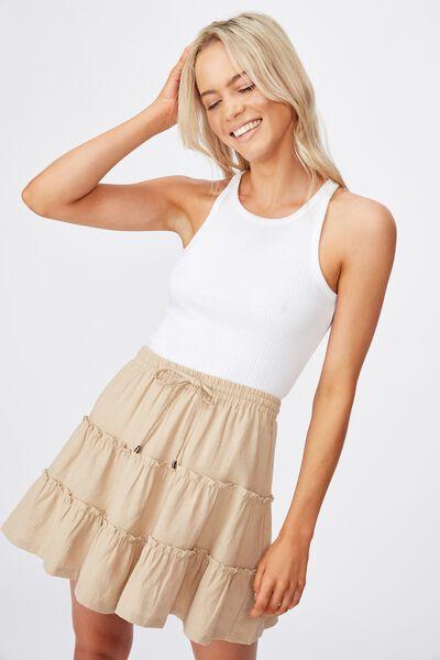 Woven Chloe Mini Skirt, NOMAD
