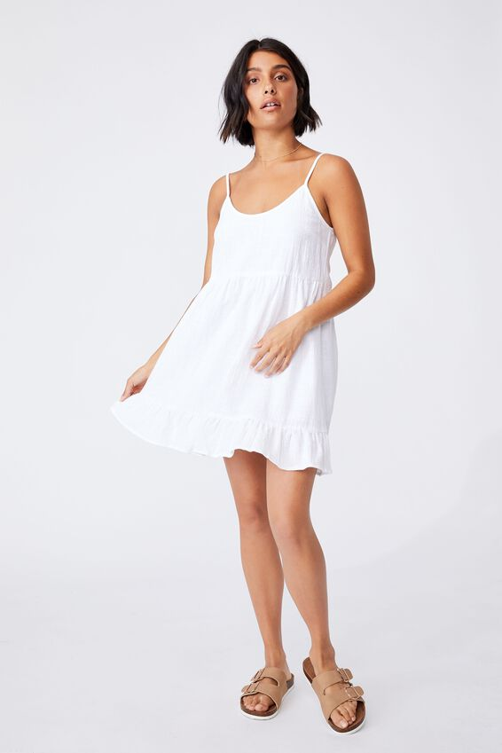 Woven Lucy Strappy Tiered Tunic, WHITE
