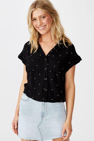 Emily Chopped Short Sleeve Shirt, ELLA STAR BLACK