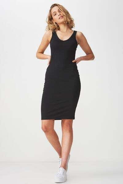 Berlin Double V Neck Body Con Midi Dress, BLACK