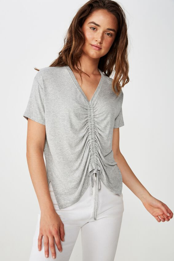 Ashleigh Extended Sleeve Rouched Tee, GREY MARLE