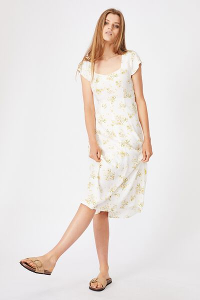 Woven Cleo Tie Back Midi Dress, GEORGIA DAISY WHITE