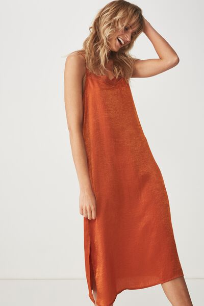 Woven Audrey Lace Midi Slip Dress, UMBER BROWN