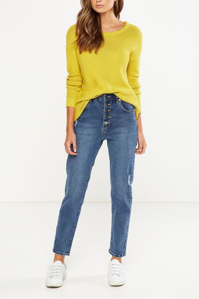 High Rise 90S Stretch Jean, FARRAH STONE BLUE RIPS