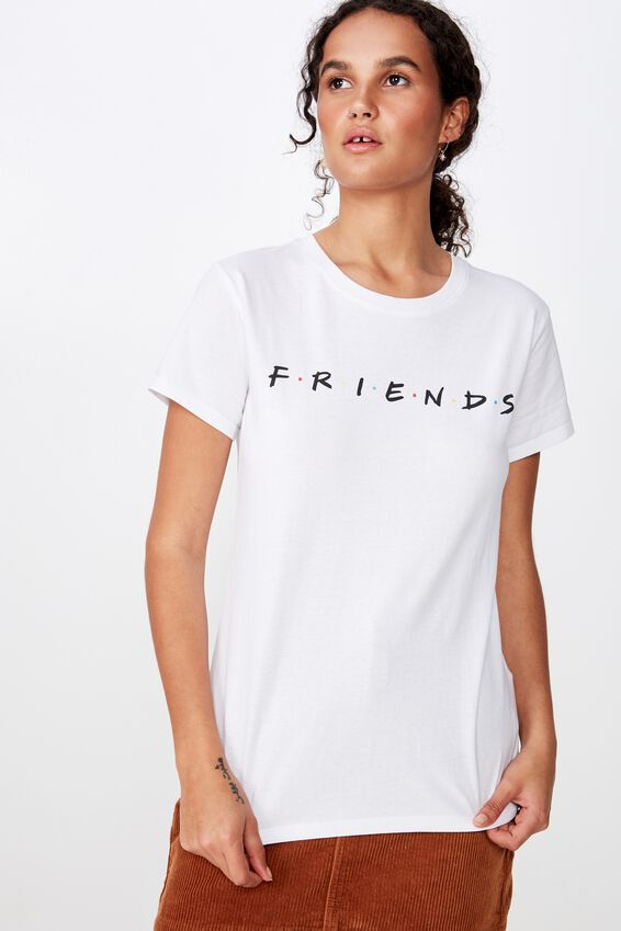 Classic Friends T Shirt, LCN WB FRIENDS LOGO/WHITE