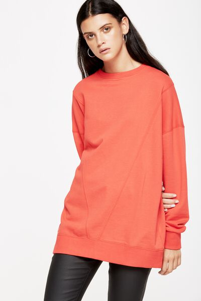 Alexis Longline Seam Pullover, POPPY RED