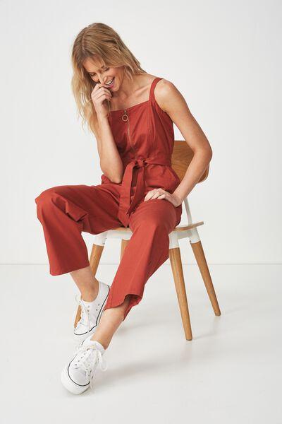 Woven Coco Strappy Zip Jumpsuit, ARABIAN SPICE