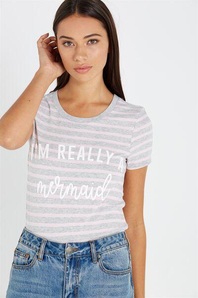 Tbar Hero Graphic T Shirt, MERMAID GREY MARLE/PINK LADY STRIPE