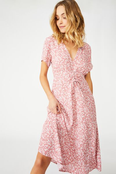 Woven Issa Gathered Front Midi Dress, CORA DITSY DUSTY ROSE