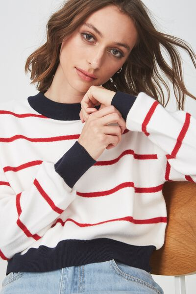 Chloe Cropped Luxe Pullover, WHITE RED STRIPE