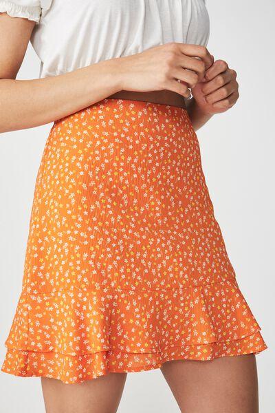 Woven Alana Mini Skirt, EMMA DITSY MANDARINE ORANGE