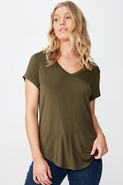 Karly Short Sleeve V Neck Top, OLIVE NIGHT