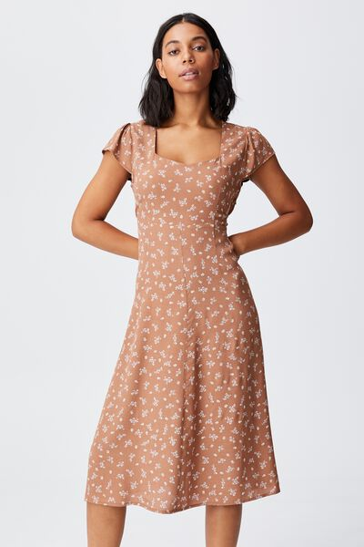 Woven Cleo Tie Back Midi Dress, RIDDLE DITSY LEAF BROWN