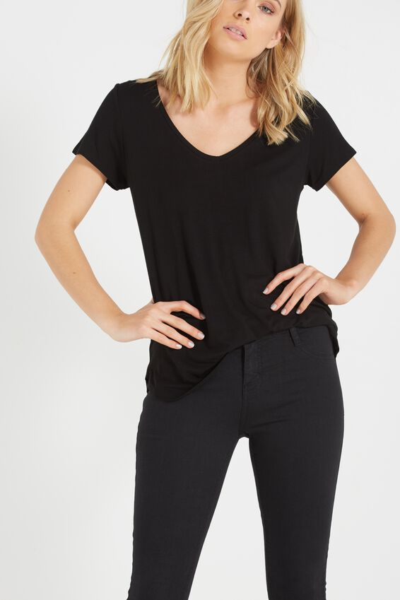 Keira Short Sleeve V-Neck T Shirt, BLACK