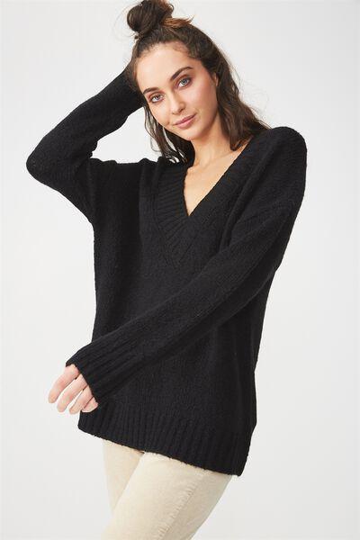 Relaxed V Neck Pullover, BLACK
