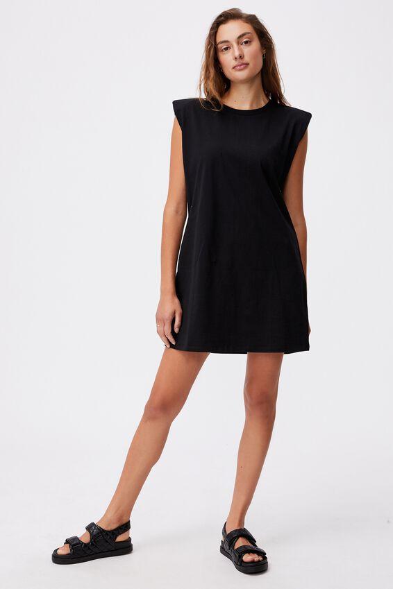 Lew Muscle Tank Mini Dress, BLACK