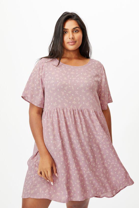 Curve Good Times Babydoll Mini Dress, RIDDLE DITSY PINK MAUVE