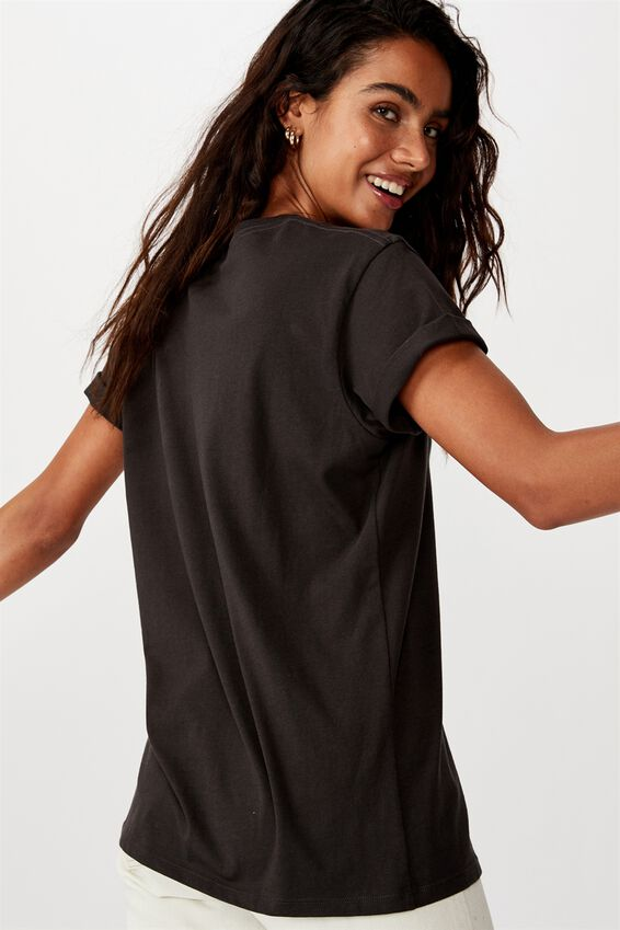 Classic Slogan T Shirt, BEACH PLEASE/WASHED BLACK