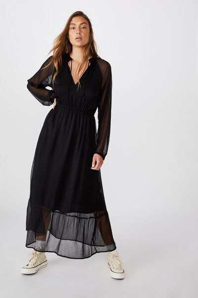 Woven Michelle Long Sleeve Maxi Dress, BLACK - G