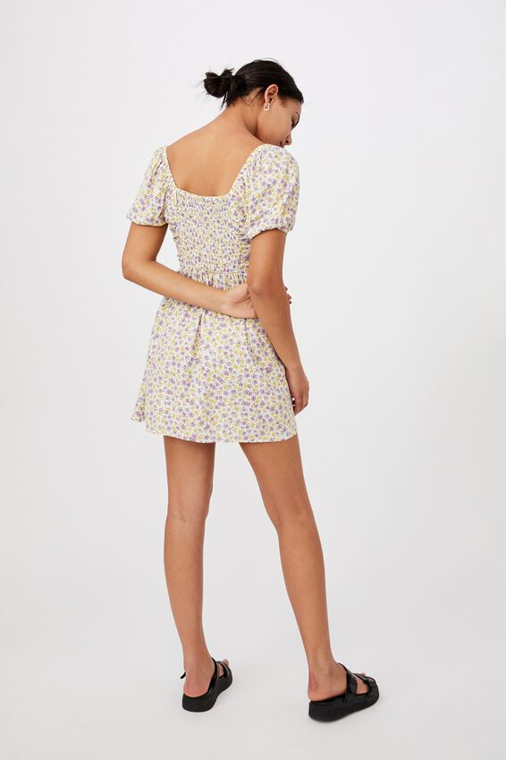 Woven April Ruched Front Mini Dress, CLARE ROSE MULTI