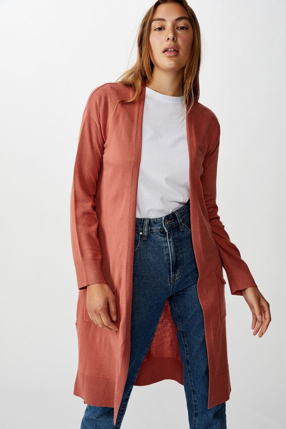 Francie Lightweight Longline Cardi, CANYON ROSE