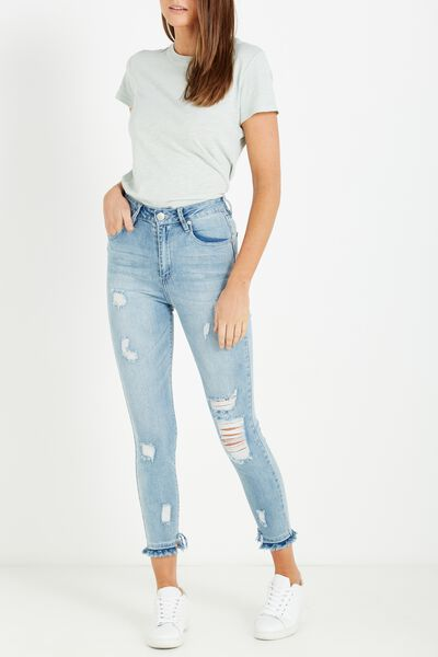 High Rise Grazer Skinny Jean, CRYSTAL BLUE RIPS