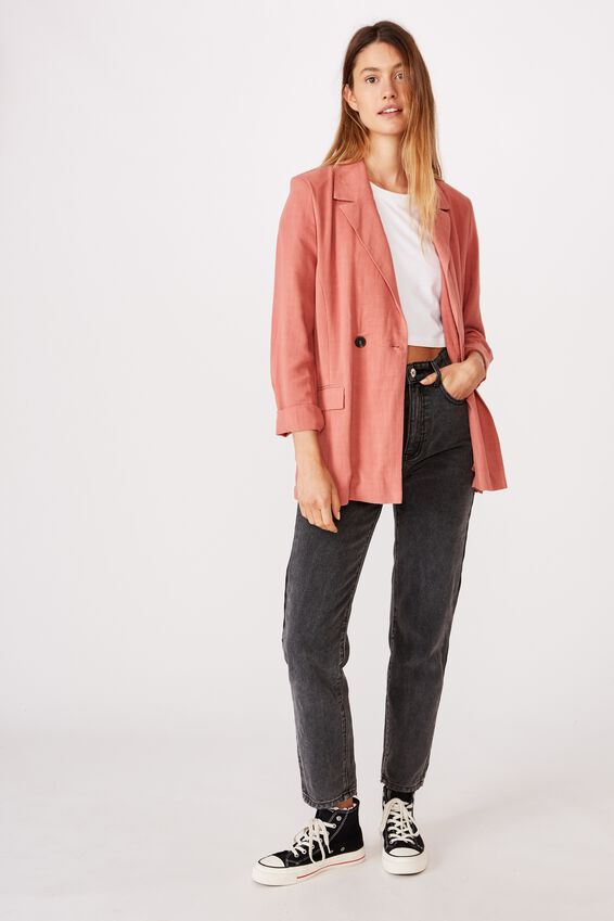 All Day Textured Blazer, CANYON ROSE