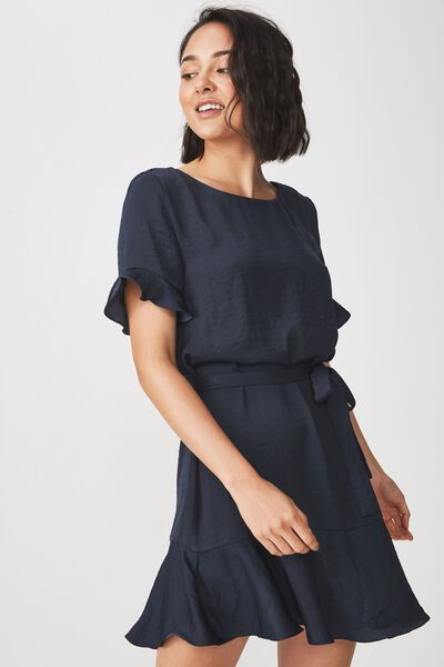 Woven Satin Crew Tea Dress, NAVY