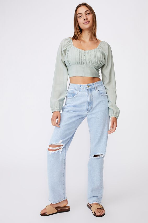 Sage Sweetheart Long Sleeve Cropped Blouse, LUSH GREEN