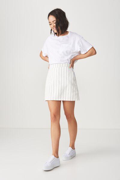 Denim Aline Skirt, WHITE/NAVY PINSTRIPE