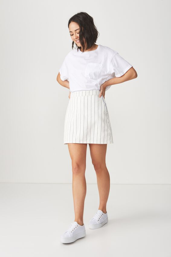 Denim Aline Skirt, WHITE/NAVY PINSTRIPE