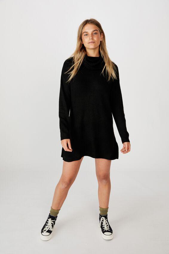 Juliette Roll Neck Knit Mini Dress, BLACK