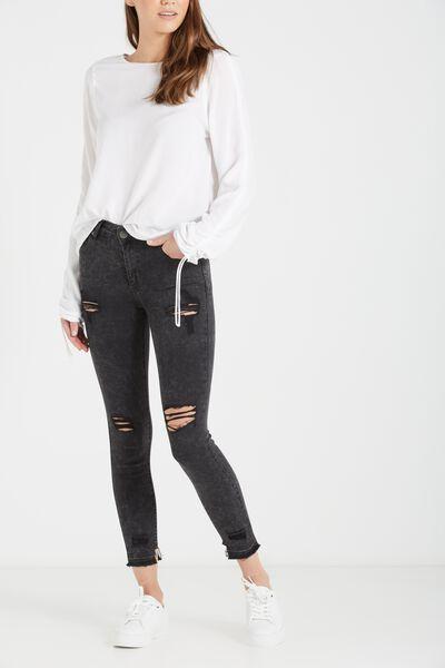 Mid Rise Grazer Skinny Jean, MOTTLED BLACK CHEWED HEM