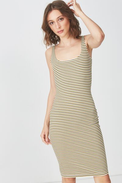 Kimi Scooped Bodycon Midi Dress, GIN STRIPE GARDENIA