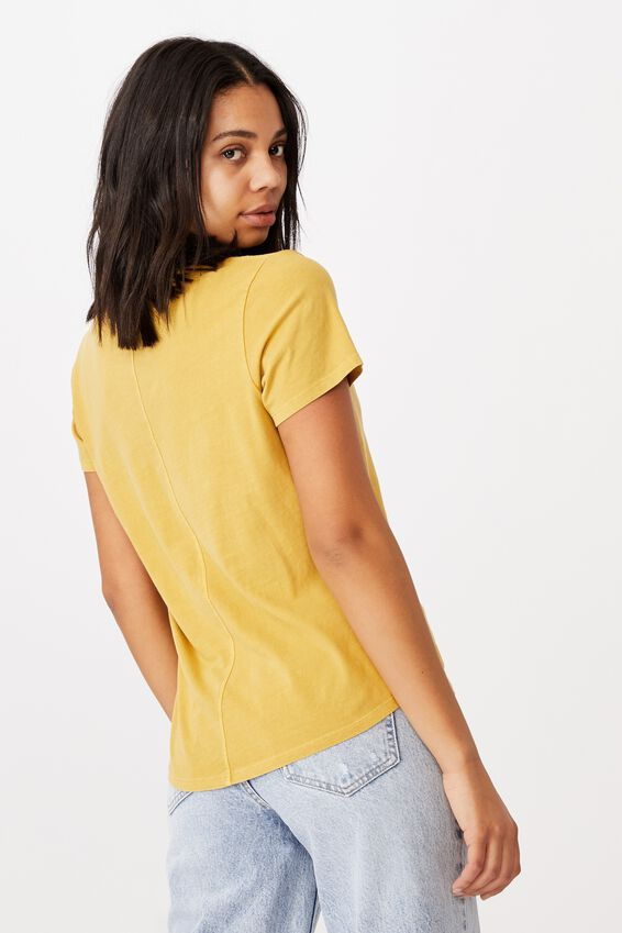 The One Fitted V Tee, WASHED CALI YELLOW