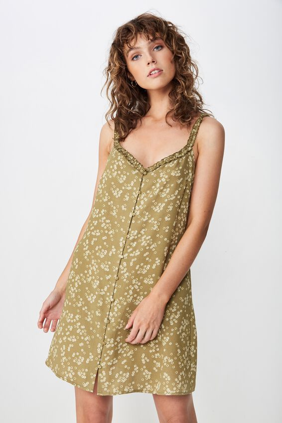 Woven Laurie Ruffle Neck Mini Dress, ALICE DITSY DRIED HERB