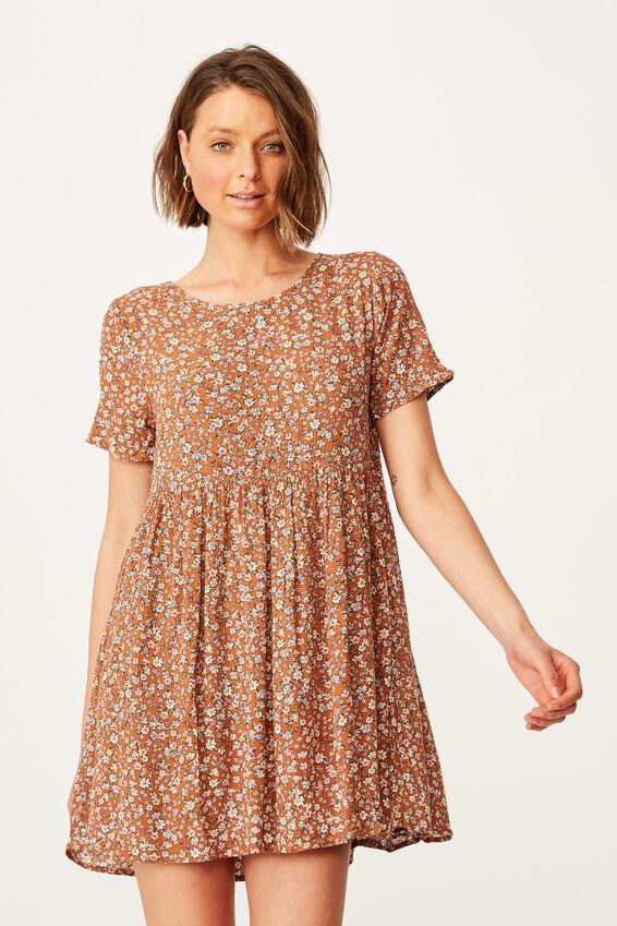 The Good Times Babydoll Mini Dress, KAYLA DITSY MID BROWN
