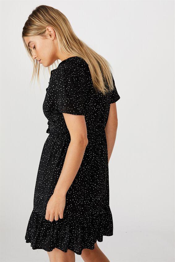 Woven Wonda Ruffle Tea Dress, KAT SPOT BLACK