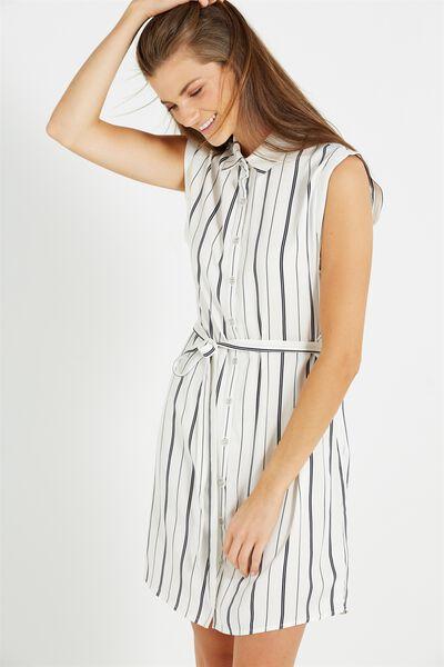Woven Alexis Short Sleeve Shirt Dress, ELLA STRIPE SPACE NAVY/WHITE