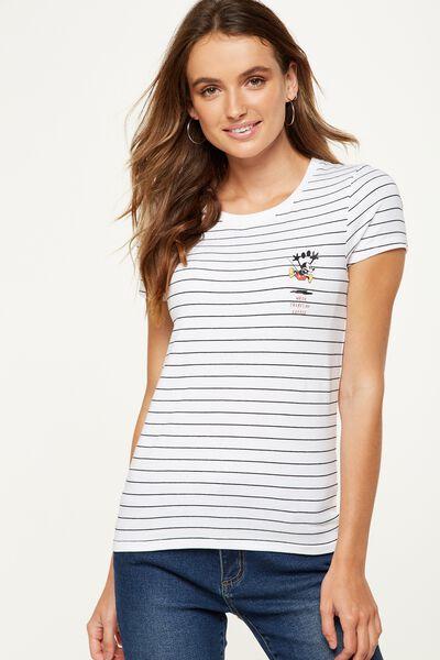 Tbar Hero Graphic T Shirt, LCN MICKEY NO COFFEE BLACK STRIPE/WHITE