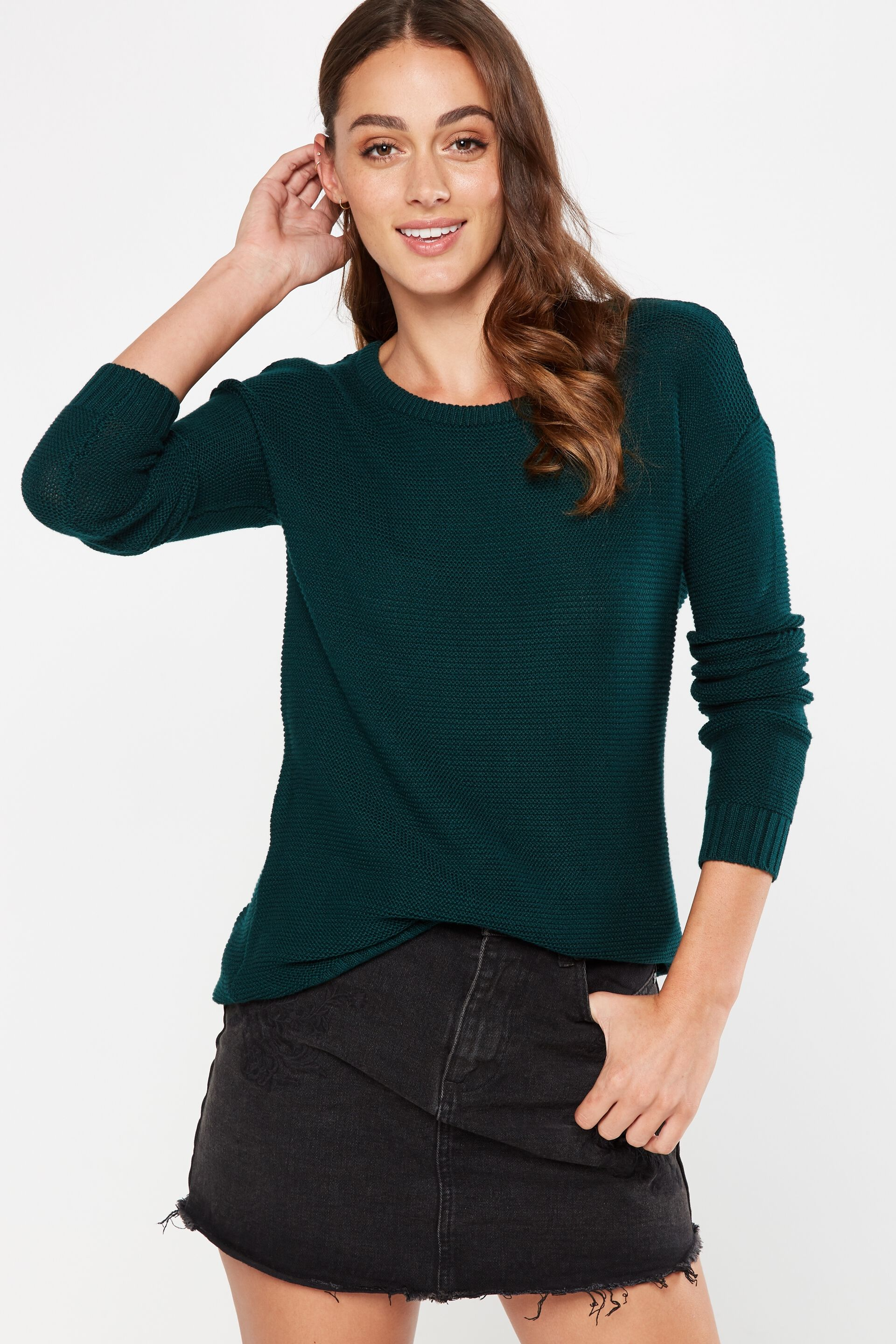 Archy 4 Pullover, VELVETY GREEN. Cotton On Women. Archy 4 Pullover