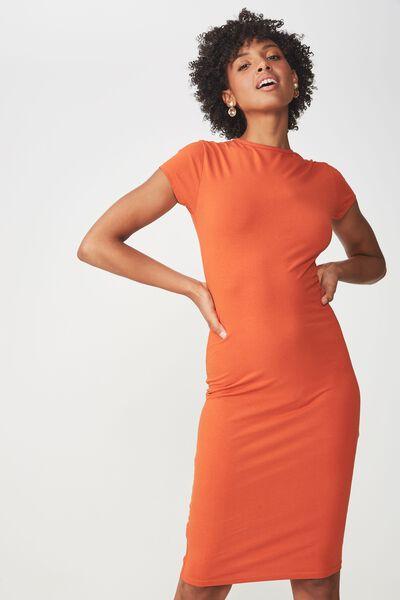 Demi Midi Bodycon Dress, BURNT OCHRE