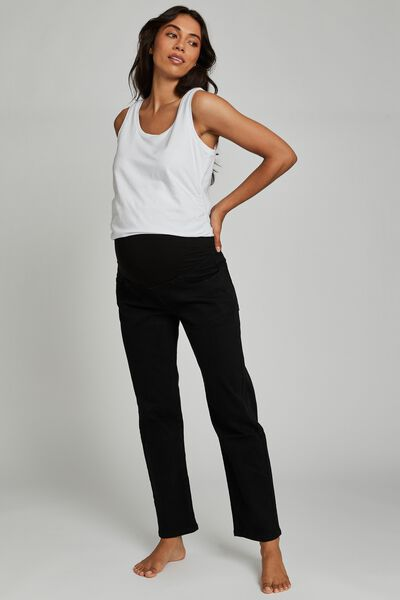 Maternity Straight Stretch Jean (Over Belly), BLACK