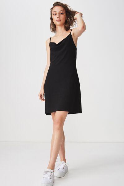 Cowl Neck Mini Dress, BLACK