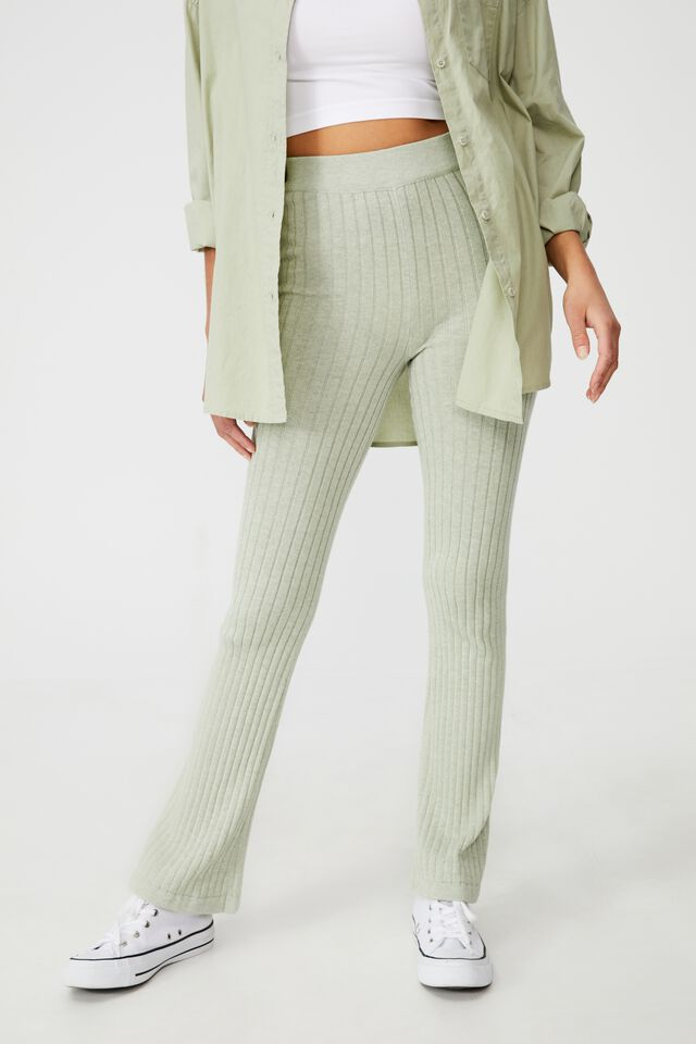 Cotton Vegetable Dye Ribbed Flare Pant, MULBERRY LEAF GREEN MARLE