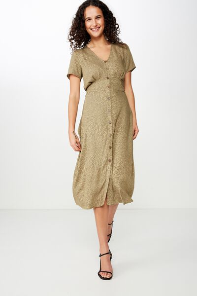 Woven Cherry Button Front S/S Midi Dress, RIO SPOT LIGHT OLIVE