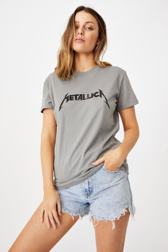 Classic Metallica T Shirt, LCN PRO METALLICA LOGO/THUNDER GREY