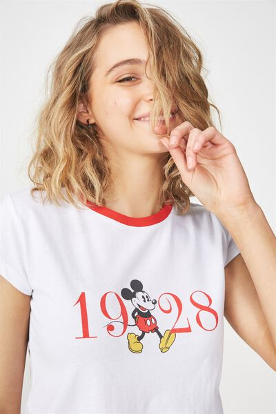 Tbar Rachael Graphic Tee Shirt, LCN MICKEY 1928/WHITE