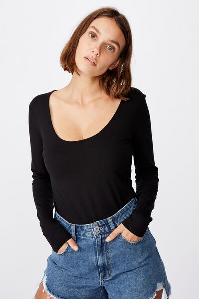 Everyday Long Sleeve Scoop Top, BLACK