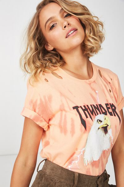 Premium Graphic Tee, THUNDER EAGLE TIE DYE/SALMON